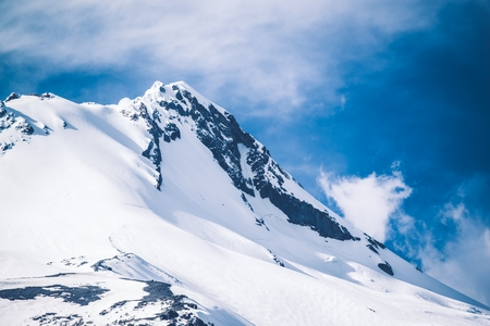 and the magnificent: Magnificent Mount Hood Snowy Summit. Mount Hood, Oregon, United States. Stock Photo