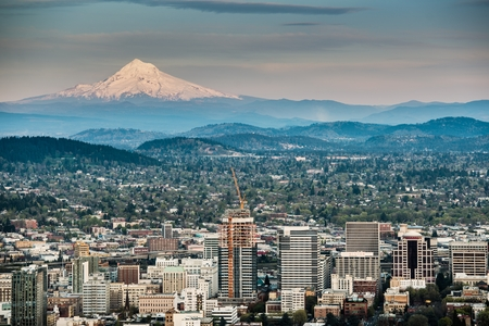 portland oregon: Portland and Mount Hood Panorama. Portland, Oregon, USA.