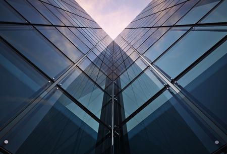 Corporate Building Concept. Glassy Modern Architecture Concept Realistic 3D Render Illustration. Glassy Skyscraper Towers.