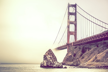 California Golden Gate Bridge in Fog. Foggy Day in San Francisco, California, United States.