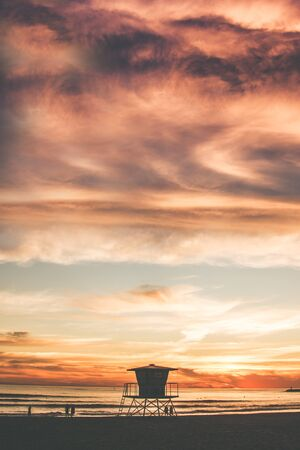 lifeguard tower: The Beach Tower. California Beach Sunset and the Lifeguard Tower. United States.