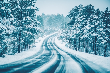 icy conditions: Winter on the Road. Heavy Snow Winter Drive Conditions.