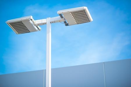 거리 LED 조명 기술. 빛 기둥 근접 촬영입니다. 스톡 콘텐츠