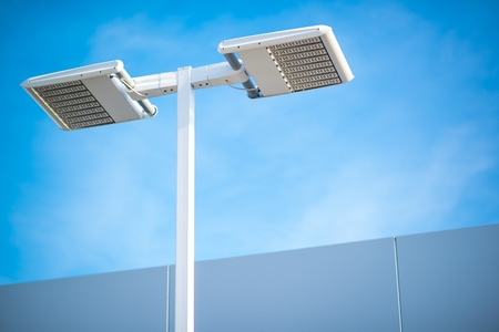 Street LED Lighting Technology. Light Pole Closeup. Archivio Fotografico