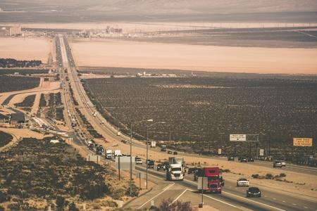 nevada: Nevada California State Border and the Highway. United States. Stock Photo