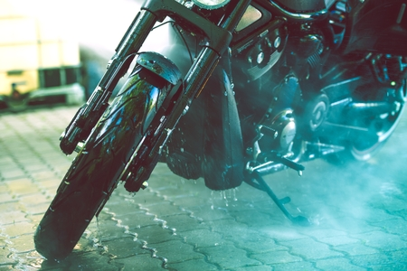 Motorbike Cleaning. Motorcycle Washing Closeup Photo.