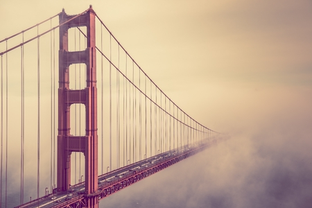 Into the Fog. San Francisco Golden Gate Bridge Foggy Scenery.