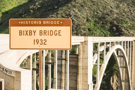 bixby: Bixby Bridge 1932 Sign. California, United States. California Coastal Highway Bridge.