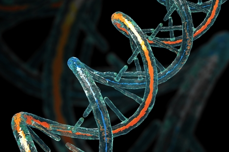 DNA Molecule on Black Background Concept 3D Illustration Archivio Fotografico