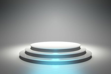 product display: Empty Circular Podium 3D Render Illustration. Empty Circular Product Display Podium.