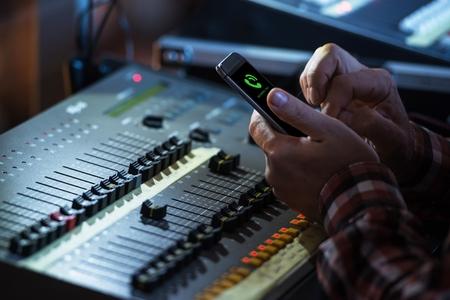 video edit: Sound Mixer Operator Incoming Phone Call. Audio Mixing Job.