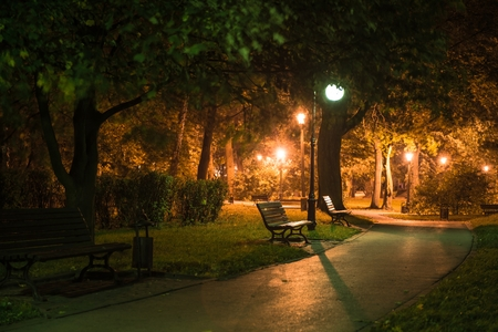 Dark Park Alley with Benches and Light Poles. Park at Night. Archivio Fotografico