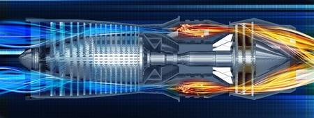 turbina: Jet Turbine Perfil Render 3D ilustración. Jet avión de motor de turbina.