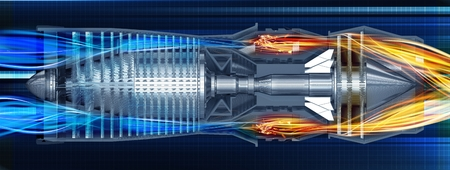 Jet Turbine Profile 3D Render Illustration. Airplane Jet Turbine Engine.