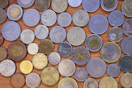 bani: World Wide Currencies. Old and New Coins From Around the World. Coin Collecting Hobby. Stock Photo