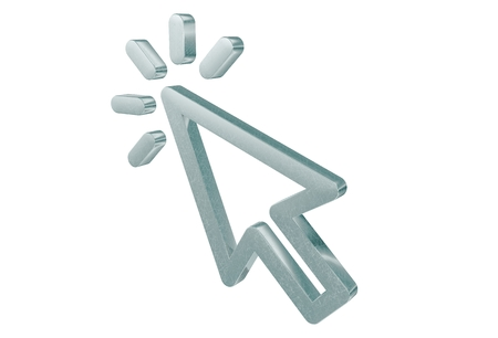 cursor: Blinking 3D Cursor Arrow. Shiny Metallic Cursor Isolated on White.