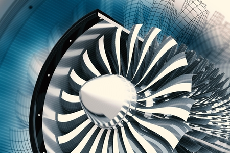 Jet Turbine Technology. Jet Engine Profile 3D Render Illustration. Aviation Technology. Archivio Fotografico