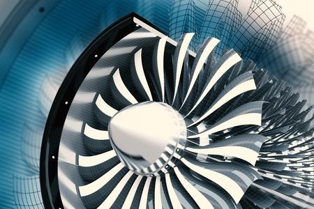 Jet Turbine Technology. Jet Engine Profile 3D Render Illustration. Aviation Technology. Stock Photo