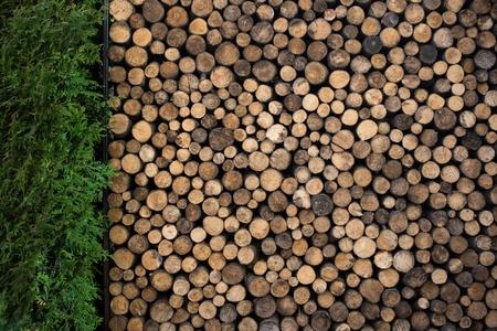 裏庭の庭で薪の山。薪の壁。