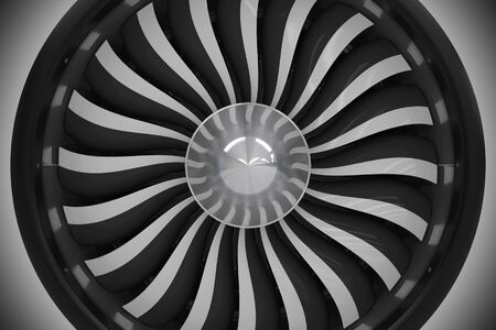 jet: Jet Turbine Fan Closeup. Turbine Fan 3D Illustration. Aviation Technology. Stock Photo