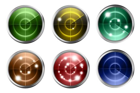 radars: Colorful Radars Isolated on White. Six Different Abstract Radars