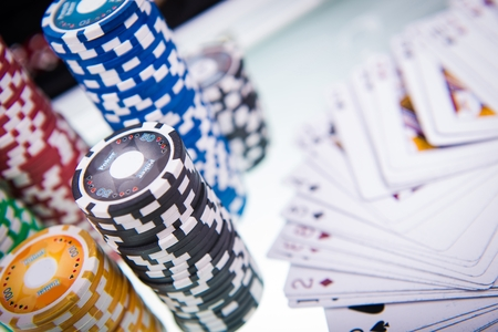 sin city: Poker Table. Cards and Poker Chips. Game Ready Table. Stock Photo