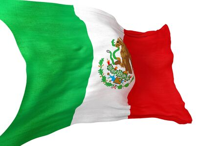 drapeau mexicain: Mexican National Waving Flag 3D Isolated on White.