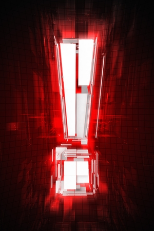 reddish: Exclamation Abstract Mark in Red Light. Exclamation Abstract Illustration