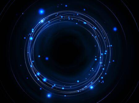 orbits: Blue Abstract Orbits Background. Blue Orbits on Black.