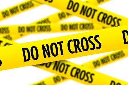 homicide: Yellow Police Tapes Do Not Cross Isolated on White Stock Photo