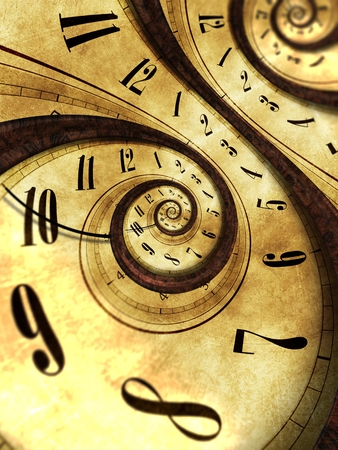 vintage clock: Abstract Time Background Concept Illustration. Twisted Vintage Clock.