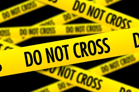 homicide: Do Not Cross Police Yellow Warning Tape. Yellow Tapes on Black Solid Background. Stock Photo