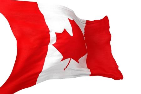 canadian flag: Canadian Waving Flag Isolated on White Background. Stock Photo