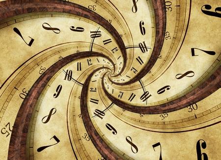 Figura Tiempo Twister concepto abstracto con el trenzado del reloj de la vendimia Foto de archivo - 54355043