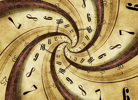 twister: Time Twister Abstract Concept Illustration with Twisted Vintage Clock