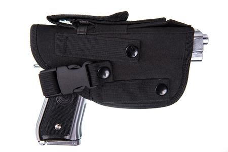 Silver Handgun in Black Holster Isolated on White Background.