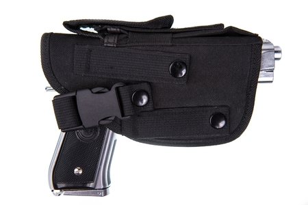 holster: Silver Handgun in Black Holster Isolated on White Background.