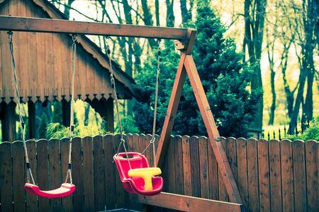 sways: Wooden Sway For Children. Outdoor Backyard Garden Sways. Stock Photo