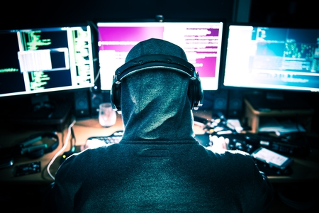 Professional Hacker at Work in Front of His Tree Displays Hacking Center.