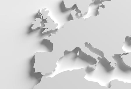 europe map: Europe 3D Map Illustration. Grayscale Elegant 3D Europe Shape.