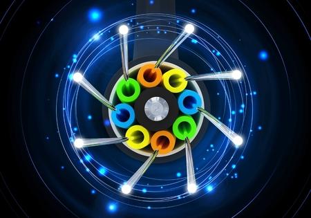 speed: Ilustración de fibra óptica Concepto Enlace 3D. Cable de fibra óptica. Internet y Redes imagen conceptual.
