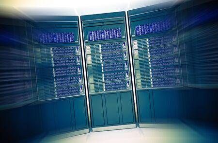 downtime: Dedicated Hosting Concept 3D Rendered Illustration. Hosting Server Machines in Motion Blur. Stock Photo