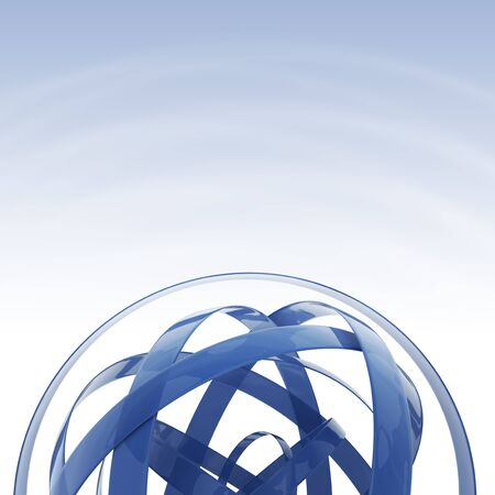 blue sphere: Blue Sphere Background with Copy Space. 3D Rendered Sphere Shape Concept.