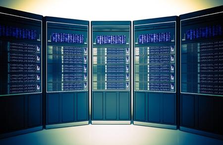downtime: Hosting Servers Room Concept 3D Illustration. Hosting Server Machines Rack.