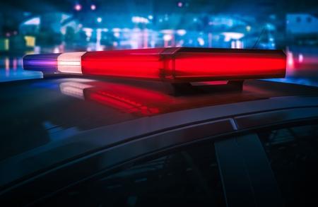 night lights: Police Car Flashing Roof Lights at Night 3D Render Illustration.