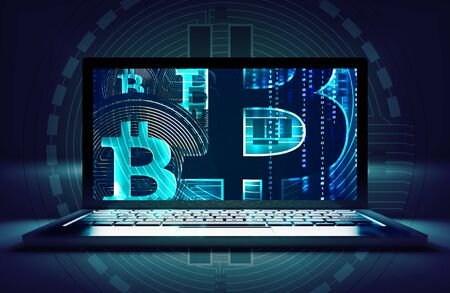 Bitcoin Online Trading Concept 3D Illustration with Laptop Computer.