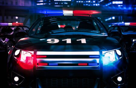 Police Night Shift Intervention Conceptual 3D Rendered Illustration.  Stock Photo