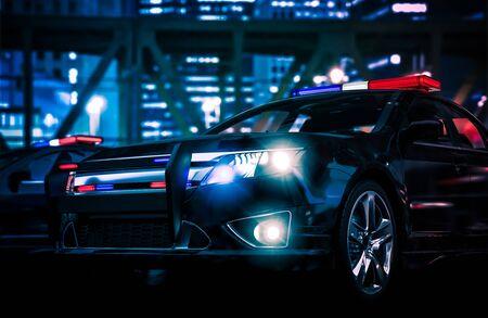 night lights: Police Interceptor Vehicle. Police Action 3D Rendered Illustration.