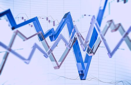 nasdaq: Glassy Forex Trading Illustration 3D Rendered. Abstract Forex Trader Business Concept. Stock Photo