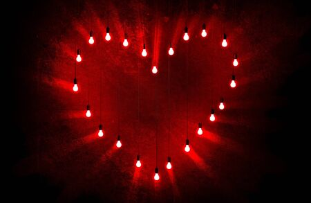 hearty: Conceptual Red Bulbs Heart Valentine Theme 3D Illustration. Red Lights Love Sign.